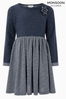 Monsoon Navy Dotty Dress