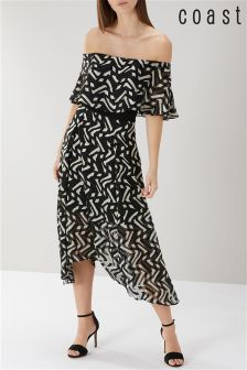 Coast Black Ada Bardot Midi Dress