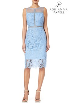 Adrianna Papell Blue Sleeveless Metallic Lace Sheath Dress