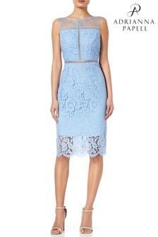 Синее облегающее кружевное платье без рукавов с металлическим отливом Adrianna Papell