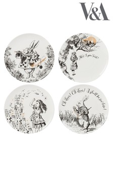 Set of 4 V & A Alice In Wonderland Side Plates