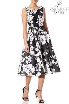 Adrianna Papell Black Printed Faille Short Dress