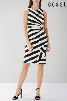 Coast Black Abigail Stripe Cotton Shift Dress