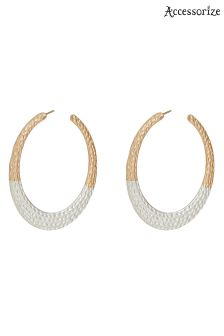 Accessorize Metallic Mixed Plate Hammered Hoop Earring