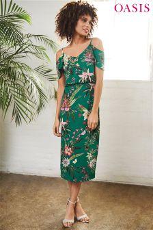 Zielona sukienka średniej długości z serii Tajemniczy ogród Oasis