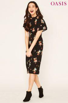 Oasis Black Bouquet Floral Angel Sleeve Midi Dress