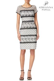 Adrianna Papell White Cap Sleeve Lace Sheath Dress