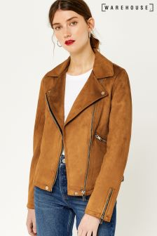 Warehouse Tan Suedette Biker Jacket