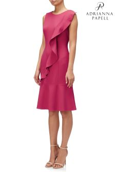 Adrianna Papell Red Knit Crepe Corkscrew Drop Waist Dress