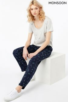 Monsoon Navy Lizzie Soft Printed Peg Trouser