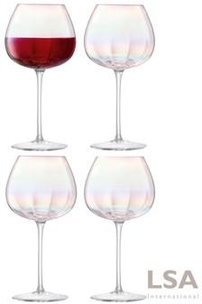 Set of 4 LSA International Pearl Red Wine Glasses
