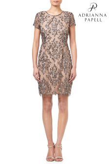 Adrianna Papell Silver Short Fully Beaded Dress
