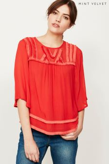 Mint Velvet Red Fringe Trim Yoke Blouse