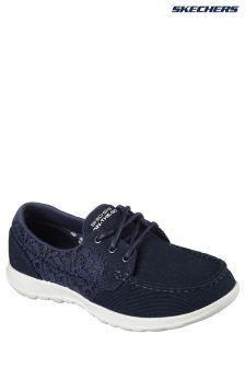 Skechers® Blue Go Walk Lite Mira Navy Canvas Boat Shoe