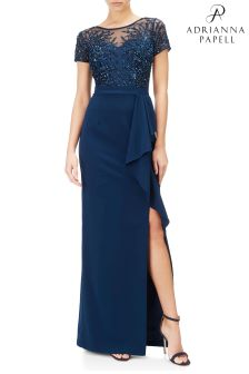 Adrianna Papell Blue Illusion Beaded Gown