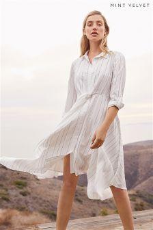 Mint Velvet White Stripe Tie Front Shirt Dress