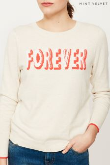 Mint Velvet Cream Forever Slogan Crew Neck Knit