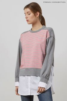 French Connection Grey/Red/White Sweatshirt
