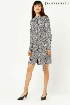 Warehouse Black/White Zebra Print Shirt Dress