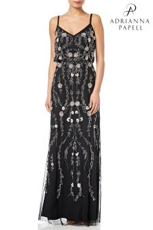 Adrianna Papell Black Floral Blouson Dress