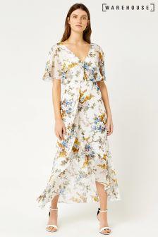 Warehouse Cream Trailing Floral Midi Dress