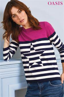 Oasis Blue Breton Stripe Star Knit