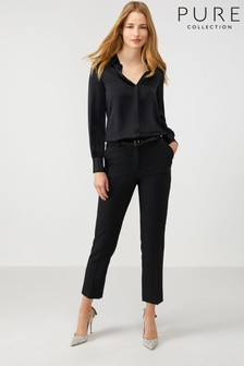 Pure Collection Black Slim Leg Wool Blend Trouser