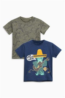 Cactus And Dinosaur Print Short Sleeve T-Shirts Two Pack (3mths-6yrs)