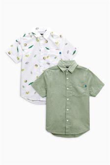 Fun Print And Khaki Plain Short Sleeve Shirts Two Pack (3-16yrs)