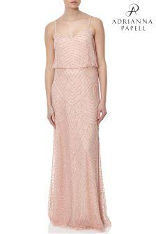 Розовое длинное платье с напуском Adrianna Papell