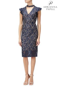 Adrianna Papell Blue Lucy Scroll Lace Ruffle Sheath Dress