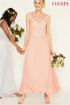 Oasis Pink Gracie Lace Top Pleated Maxi Dress