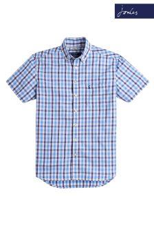 Joules Blue Gingham Wilson Short Sleeve Shirt