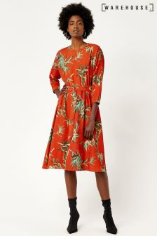 Warehouse Orange Barbara Printed Dress