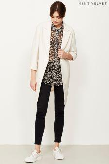 Mint Velvet Cream Ribbed Longline Duster Coat
