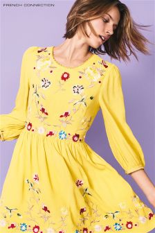 French Connection Dark Citron Embroidered Dress