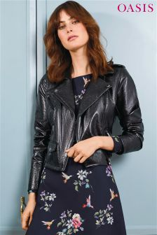 Oasis Black Patent Faux Leather Biker Jacket