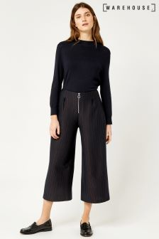 Warehouse Navy/Bronze Stripe Pinstripe Culotte Trouser