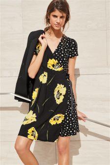 Floral Spot Wrap Dress