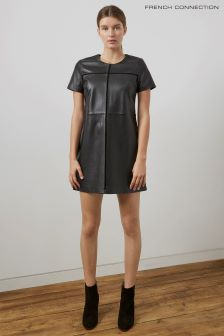 French Connection Black Gizo Leather Dress