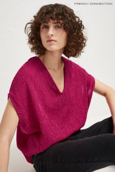French Connection Pink Susui Seersucker Jersey V-Neck Top
