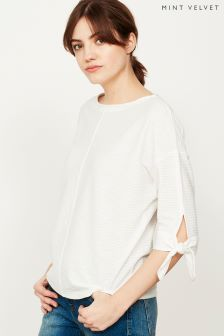 Mint Velvet White Ivory Tie Cuff Batwing Shirt
