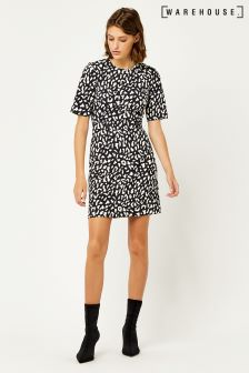 Warehouse Navy Blue Animal Printed Crepe Dress