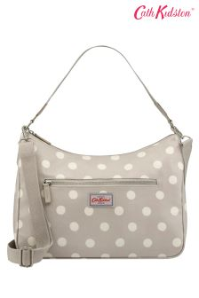 Cath Kidston® Tan Fawn Button Spot Curve Shoulder Bag
