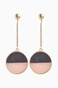 Resin And Wood Effect Drop Earrings