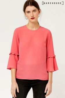 Warehouse Pink Double Frill Top