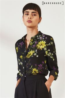 Warehouse Black Dutch Floral Chiffon Top