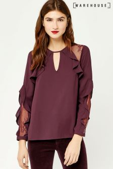 Warehouse Burgundy Ruffle Lace Mix Top