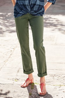 Button Front Straight Leg Trousers