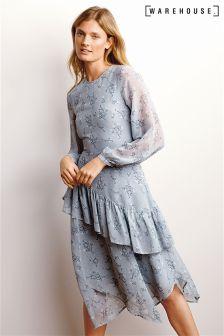 Warehouse Light Blue Anise Floral Ruffle Midi Dress